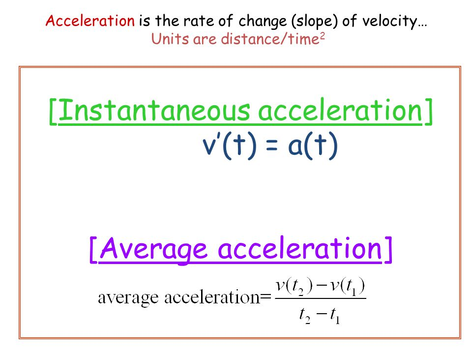 [Instantaneous acceleration] v'(t) = a(t) [Average acceleration]